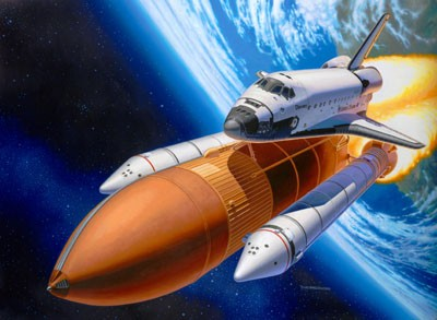 Revell-Makett-Space-Shuttle-Discovery & Booster-Rockets-1:144
